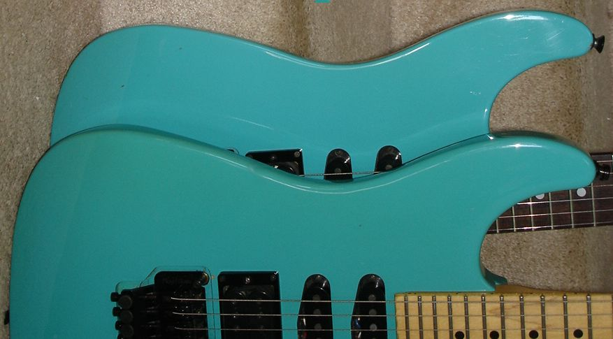 Hm strat history chriss guitars youll see how the finish turns from a blue pictured back to more of a green pictured in front the blue er one sat in its case out of the publicscrutiny Images